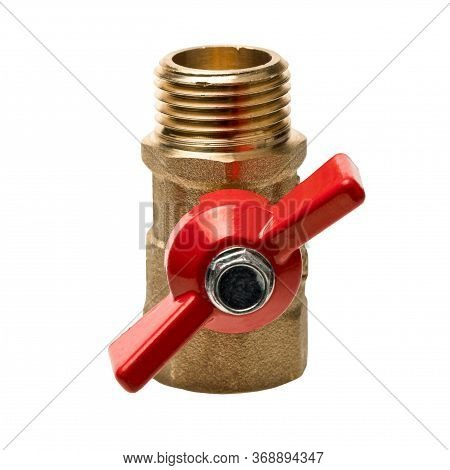 Isolated Object On A White Background. Water Tap With A Red Valve. Part Of The Water Supply System.