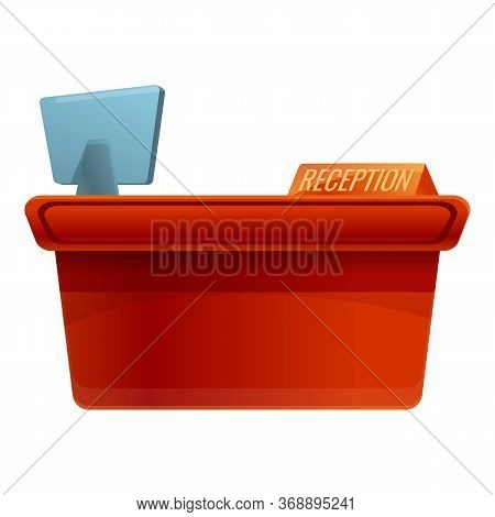 Hotel Reception Desk Icon. Cartoon Of Hotel Reception Desk Vector Icon For Web Design Isolated On Wh