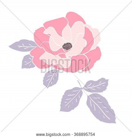 Wild Pink Rose Flower And Leaf With White Outline. Hand Drawn Floral Clip Art For Cards Or Logo. Des