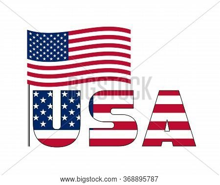 3d Usa Text With American Flag. Vector Illustration On White Background. Usa Flag In Text. American