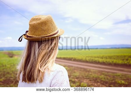 Woman Wheat Field In Nature. Happy People Lifestyle. Woman Standing In Wheat Field In Nature. Nature