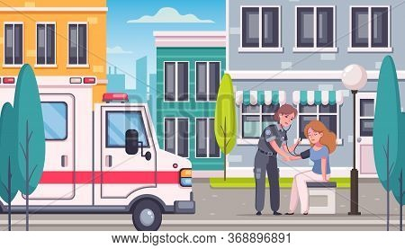 Paramedic Emergency Ambulance Cartoon Composition With Modern City Landscape And Doctor Doing Blood