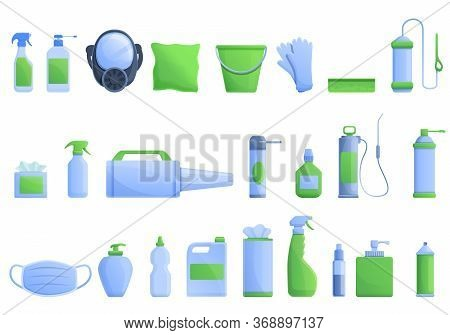 Disinfection Icons Set. Cartoon Set Of Disinfection Vector Icons For Web Design