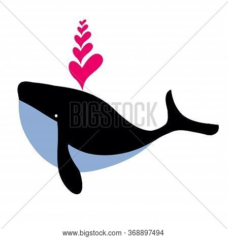 Abstract Illustration Of Whale With Hearts. Cute Blue Whale With Hearts