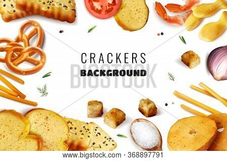 Fast Nutrition White Background With Frame Consisting Of Crackers Snacks Toasts With Different Ingre