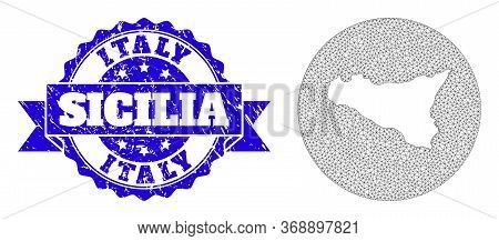 Mesh Vector Map Of Sicilia Island With Grunge Stamp. Triangular Mesh Map Of Sicilia Island Is Invert