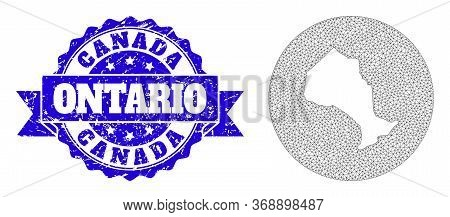 Mesh Vector Map Of Ontario Province With Scratched Seal. Triangle Mesh Map Of Ontario Province Is A