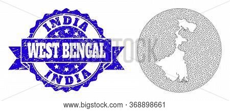 Mesh Vector Map Of West Bengal State With Grunge Seal Stamp. Triangle Mesh Map Of West Bengal State