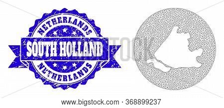 Mesh Vector Map Of South Holland With Grunge Seal Stamp. Triangular Net Map Of South Holland Is Sten
