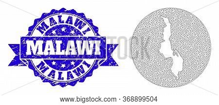 Mesh Vector Map Of Malawi With Grunge Seal Stamp. Triangular Net Map Of Malawi Is A Hole In A Round