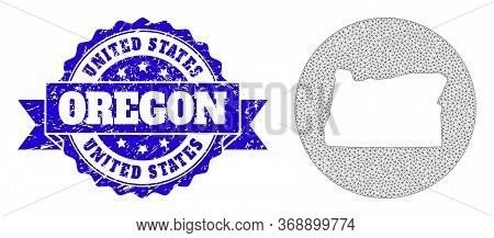 Mesh Vector Map Of Oregon State With Grunge Seal Stamp. Triangular Mesh Map Of Oregon State Is Carve