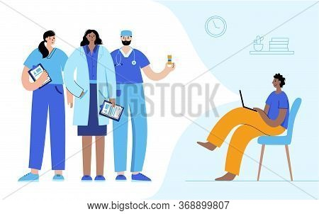 Team Of Doctors Consults A Man By Videocall Via Lpaltop By Internet. Flat Vector Illustration. Medic