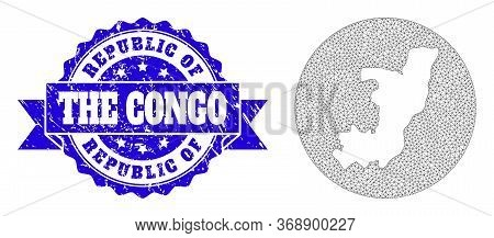 Mesh Vector Map Of Republic Of The Congo With Scratched Seal. Triangular Mesh Map Of Republic Of The