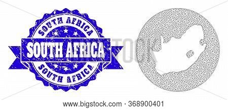 Mesh Vector Map Of South African Republic With Scratched Stamp. Triangular Mesh Map Of South African