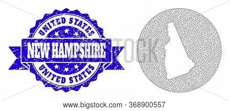 Mesh Vector Map Of New Hampshire State With Scratched Seal Stamp. Triangle Mesh Map Of New Hampshire