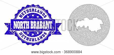 Mesh Vector Map Of North Brabant Province With Scratched Seal Stamp. Triangle Mesh Map Of North Brab