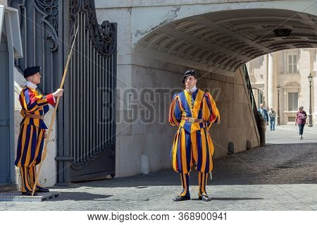 Rome, Vatican / Italy - May 4, 2015: Soldiers Of The Pontifical Swiss Guard (pontificia Cohors Helve