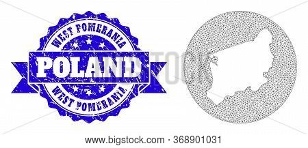 Mesh Vector Map Of West Pomerania Province With Grunge Seal Stamp. Triangle Mesh Map Of West Pomeran