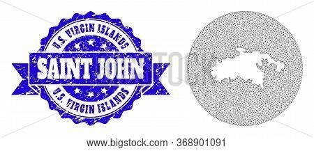 Mesh Vector Map Of Saint John Island With Scratched Seal. Triangle Mesh Map Of Saint John Island Is