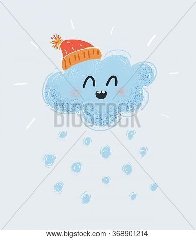 Vector Illustration Of The Magic Christmas Cloud Wearing In Hat With Pompom Hat With Falling Snowfla