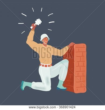 Cartoon Vector Illustration Of Man Throwing Grenade From Entrenchment Wall