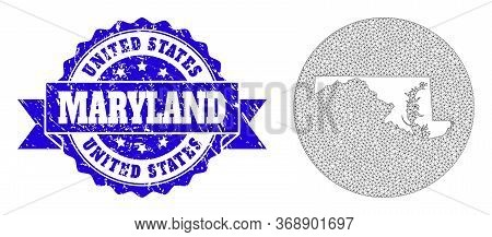 Mesh Vector Map Of Maryland State With Grunge Seal Stamp. Triangle Mesh Map Of Maryland State Is Cut