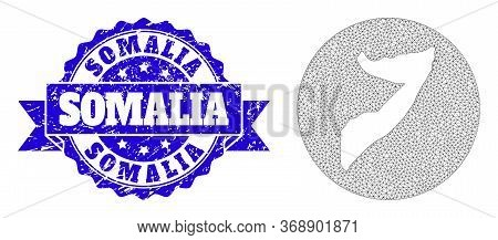 Mesh Vector Map Of Somalia With Grunge Seal Stamp. Triangle Mesh Map Of Somalia Is Stencils In A Rou