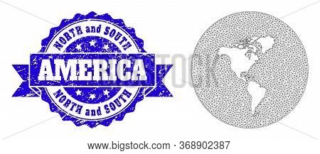 Mesh Vector Map Of South And North America With Scratched Seal Stamp. Triangle Network Map Of South