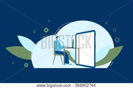 Interactive Communication Concept. Dressed In Casual Clothes Sitting At The Desk And Looking At Big