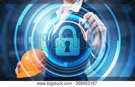 Digital Cybersecurity And Network Protection Concept. Virtual Locking Mechanism To Access Shared Res