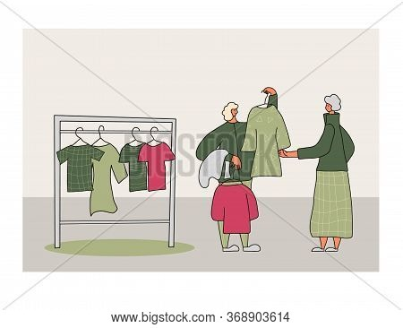 Clothes Swap Concept. Flea Market Scene. Selling Vintage Goods. Second Hand Shop. Woman Looking At D