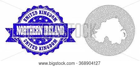 Mesh Vector Map Of Northern Ireland With Scratched Seal Stamp. Triangular Net Map Of Northern Irelan