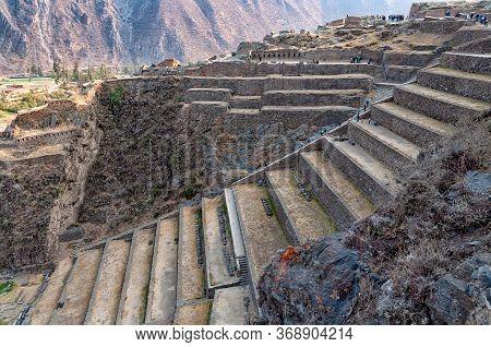 Inca Terraces Of Pumatallis At Ollantaytambo Sacred Site, Peru. During The Inca Empire, Ollantaytamb