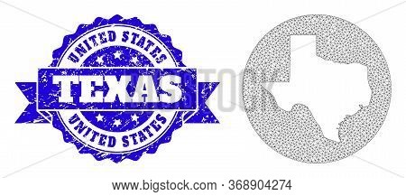Mesh Vector Map Of Texas State With Scratched Seal Stamp. Triangular Network Map Of Texas State Is S