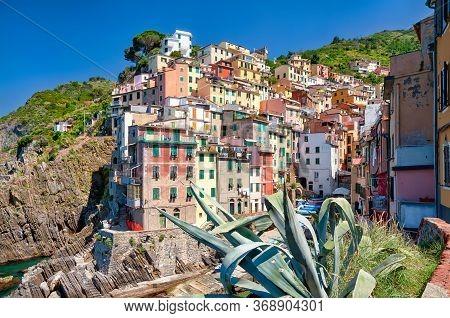 The Fishing Village Of Riomaggiore, Italy. Riomaggiore Is The Most Southern Village Of The Five Cinq