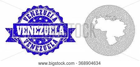 Mesh Vector Map Of Venezuela With Scratched Seal. Triangle Mesh Map Of Venezuela Is Subtracted From