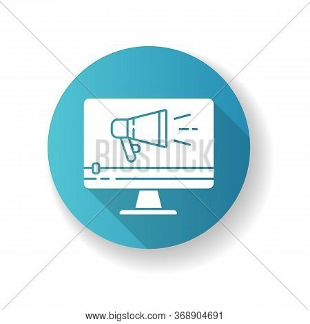 Tv Commercial Blue Flat Design Long Shadow Glyph Icon. Marketing Promotion. Video Production. Digita