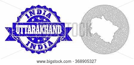 Mesh Vector Map Of Uttarakhand State With Grunge Stamp. Triangle Mesh Map Of Uttarakhand State Is A