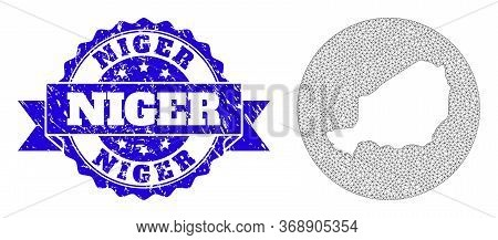 Mesh Vector Map Of Niger With Scratched Seal Stamp. Triangle Mesh Map Of Niger Is A Hole In A Circle