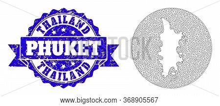 Mesh Vector Map Of Phuket With Grunge Seal Stamp. Triangle Mesh Map Of Phuket Is Carved In A Round S