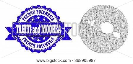 Mesh Vector Map Of Tahiti And Moorea Islands With Grunge Seal Stamp. Triangle Net Map Of Tahiti And