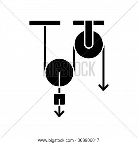 Physics Black Glyph Icon. Fundamental Natural Science, Mechanics Silhouette Symbol On White Space. T
