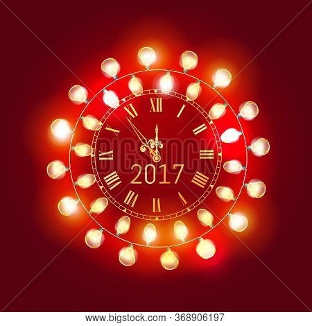 Merry Christmas And Happy New Year 2017 Gold Clock Face With Christmas Glowing Electric Garland Deco