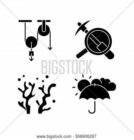 Physical And Life Sciences Black Glyph Icons Set On White Space. Formal And Natural Scientific Field