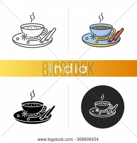 Masala Chai Icon. Indian Tea With And Herbs. Traditional Drink. Flavoured Hot Beverage. Cocoa With C