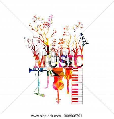Colorful Music Promotional Poster With Music Instruments Isolated Vector Illustration. Artistic Abst