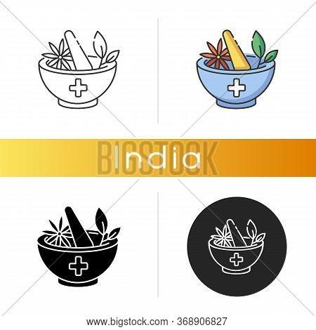 Ayurveda Icon. Ayurvedic Treatment. Alternative Medicine. Indian Traditional Health Care System. Med