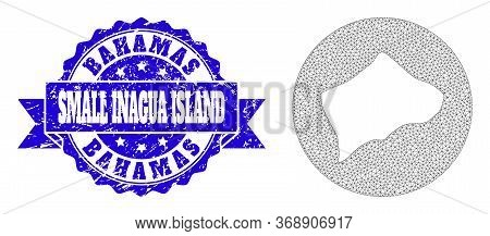 Mesh Vector Map Of Small Inagua Island With Grunge Seal. Triangle Mesh Map Of Small Inagua Island Is