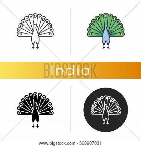 Peacock Icon. Indian Peafowl With Spread Feathers. Pheasant Species. Brightly Colored Bird Native To