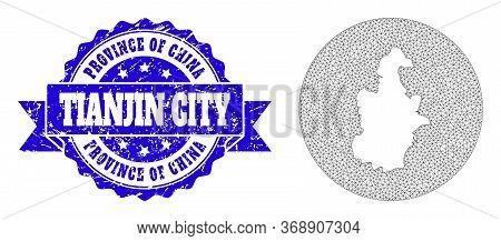 Mesh Vector Map Of Tianjin Municipality With Scratched Seal Stamp. Triangle Network Map Of Tianjin M